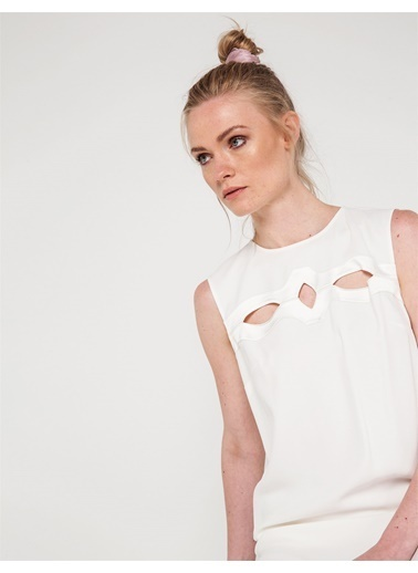 Love'n Fashion Paris Kolsuz Kısa Elbise Ekru